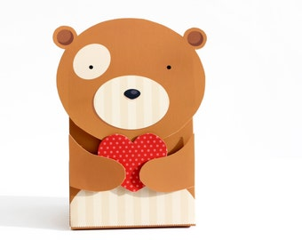 Bear Gift Box A4 Digital Download Valentines Birthday Wedding Favour box