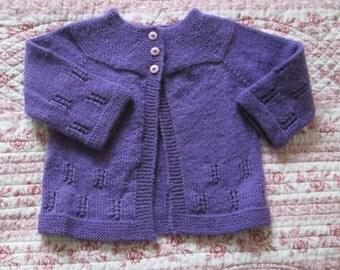 Baby Girl Sweater Hand Knit Merino Wool 9M 12M Purple Vintage Style