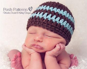 Crochet PATTERN - Easy Crochet Hat Pattern - Baby Crochet Pattern - Crochet Patterns for Boys - Includes 7 Sizes Newborn to Adult - PDF 121