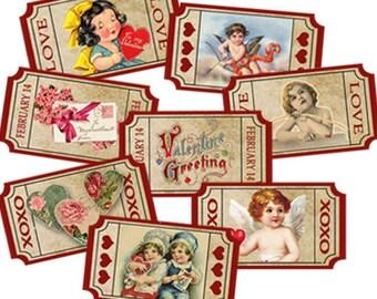 Valentine Love Tickets-Instant Digital Download, Diy Valentine Vintage Images-Paper Crafts-Cards-Scrapbook clip art-Collages-Altered Art