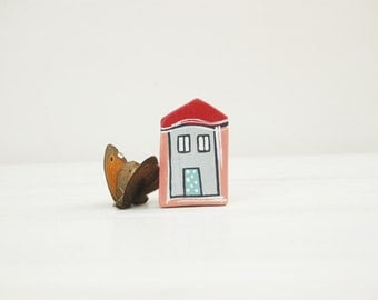 Little House Brooch Coral Red House Pin