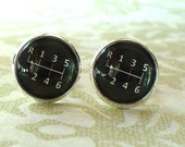 20% OFF -- 16 mm Black and white Gear Stick Cuff Links ,Mens Accessories,Perfect Gift Idea (Black)