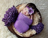 Photo Prop Layering Set - LAVENDER Lush Wrap, IRIS Stretch Wrap, Sari tie-back halo - Newborn Photo Prop - knitbysarah - stitches by sarah