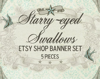 """Etsy Shop Banner Set w/ New Size Cover Photo Vintage Style """"Starry-Eyed Swallow"""" - Pre-made Design 6 Pieces Tattoo Swallows Nautical Stars"""