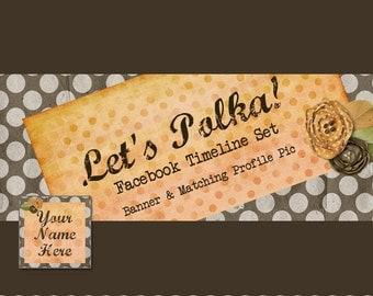 Facebook Banner Set - Cute Polka Dot - Pre-made Vintage Mustard Yellow Design - Let's Polka