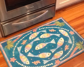 Fish and Palm Trees floorcloth 2 x 3 rug