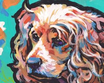English cocker Spaniel art print of pop art painting bright colorful dog portrait 8.5x11