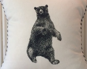 """shabby chic, feed sak, french country, vintage bear graphic with ticking stripe  welting 14"""" x 14"""" pillow sham"""