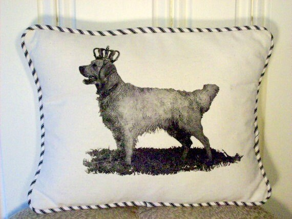 "shabby chic, feed sack, french country, vintage golden retriever graphic with ticking stripe  welting 12"" x 16"" pillow sham."