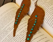 Turquoise and Leather Leaf Feather Earrings (Stone for protection and friendship)