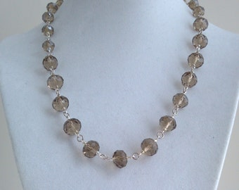 Smoky Quartz Swarovski Crystal Necklace