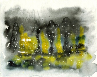 Abstract painting Original watercolor Whimsical snowy night lights surreal grey yellow black