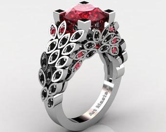 Art Masters Nature Inspired 14K White Gold 3.0 Ct Rubies Black Diamond Engagement Ring Wedding Ring R299-14KWGBDR