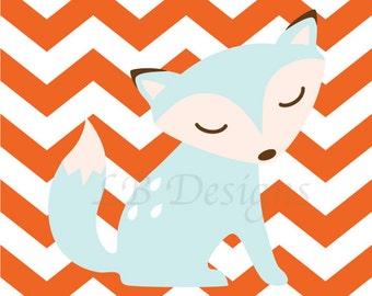 Fox Nursery Decor, Woodland Nursery Art, Forrest Nursery Art, Fox Print, Boy Nursery Decor - 8x10