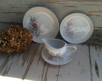 Vintage Rose Serving Dishes - Windsor Rose Fine China, Shabby Chic Antique Plates + Creamer, Partial Dinnerware Set, Vintage Wedding Dishes