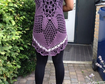 Mixed light and dark purple crochet top, gaucho, long blouse, from bamboo yarn