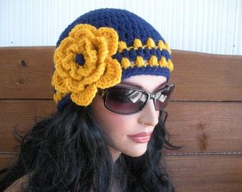 Womens Hat Crochet Hat Winter Fashion Accessories Women Beanie Hat Cloche in Navy blue with Gold Crochet Flower