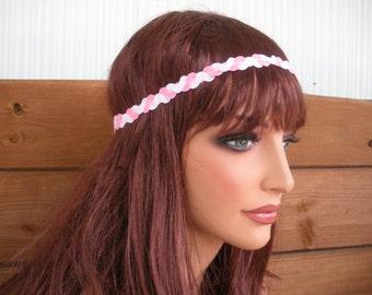 Womens Headband Boho Headband Hippie Headband Hair Accessories Women Braided Headband Pink White Braided Trim