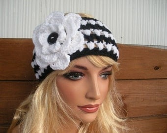 Womens Headband Crochet Headband Winter Fashion Accessories Women Earwarmer Head Scarf in Black, White Stripes and Flower
