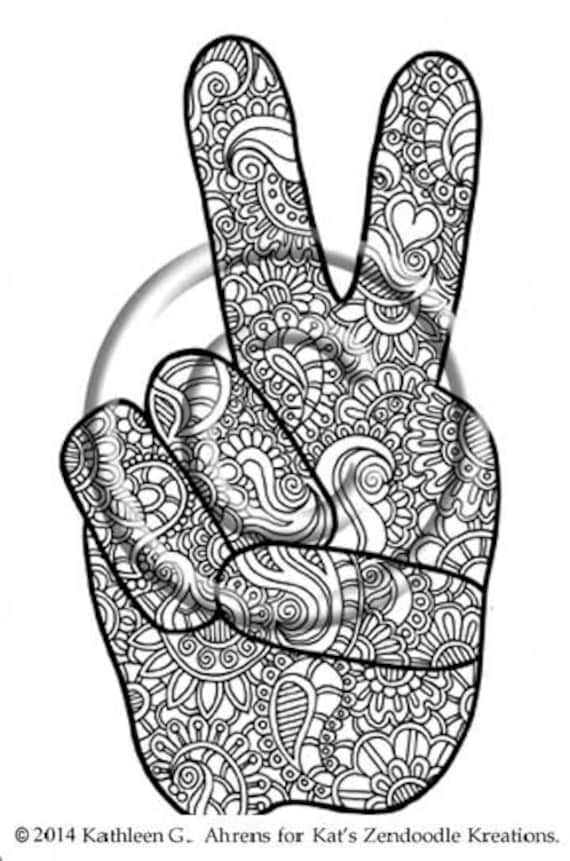 stay out sign coloring pages | Instant PDF Download Hand Drawn Mehndi Peace by ...