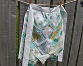 Hanky Apron, Garden Party Hostess Gift, Bridal Shower Gift, One of a Kind Design in Teal and White