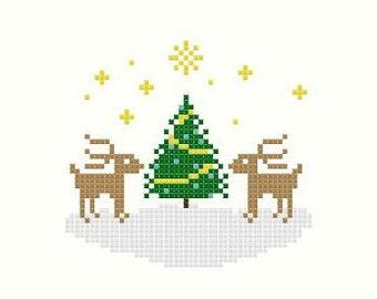 Reindeer Christmas Cross Stitch Pattern PDF