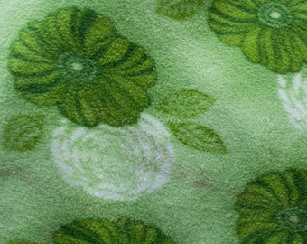 Green Floral Print Fleece Fabric by the yard