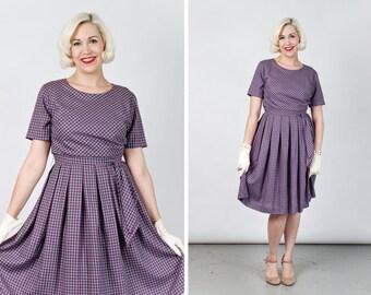 SALE Vintage 1960s Purple Gingham Day Dress with Sash