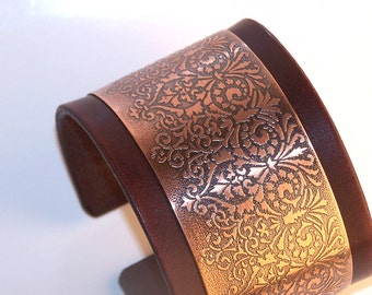Beautiful leather and etched copper - women cuff bracelet