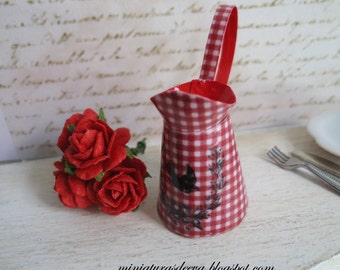 """Pitcher (Jug) with roses. """"Red cottage"""". Dollhouse. Home decor. 1/12th scale"""