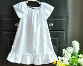 Classic White Cotton Nightgown Portrait Dress, Beach Pictures, Baptism, Christening, Homecoming Coming Home, Sizes Newborn 0-3 thru 4T