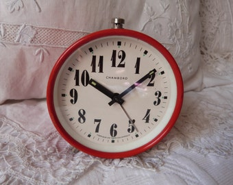 Vintage red alarm clock vintage Chambord clock red retro alarm clock 1950s w mechanical movement, working order, vintage retro home decor
