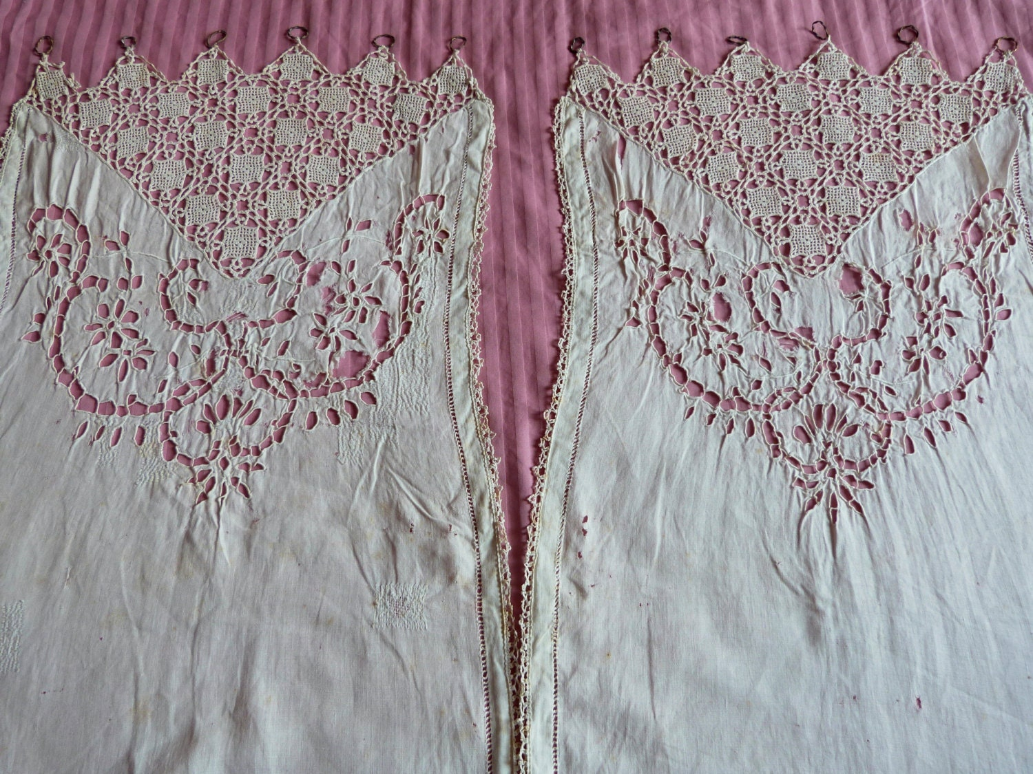 antique french lace curtains drape panels shabby chic