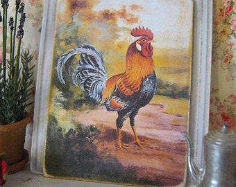 French Rooster Print for Dollhouse
