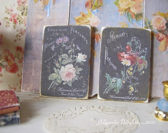 Vintage Set of Perfume Signs/Prints for Dollhouse