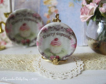 Cherry Cupcake Dessert/Bread Dollhouse Plate
