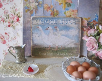 Country Goose Egg Sign for Dollhouse