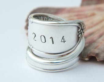 Petite CLASS SPOON RING- Class of 2016- Grad gift handstamped Jewelry- you choose year Graduation Gift