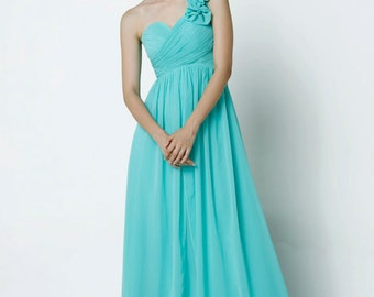 On Sale Size XXS Mint Wedding dress , Silk Chiffon party dress, mint bridesmaid dress, floor length formal dress - NC517-1
