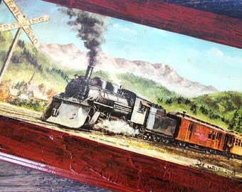 Vintage Train Wall Art Plaque, Drummond Litho in USA, Boys Room Decor Nursery Office Display, Colorful Steam Engine Locomotive