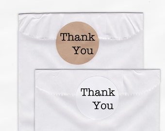 Thank You Wedding Favor Stickers - Custom White Or Kraft Round Labels for Bag Seals, Envelopes, Mason Jars (2011)