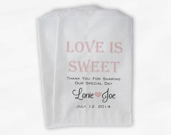 Love Is Sweet Wedding Candy Buffet Treat Bags - Personalized Favor Bags in Pink Ice and Black - Custom Paper Bags (0069)