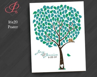 Modern Guestbook - Signature Tree with Owls -  (Color/Font/Text Changes are FREE with Deposit or Digital Purchase)