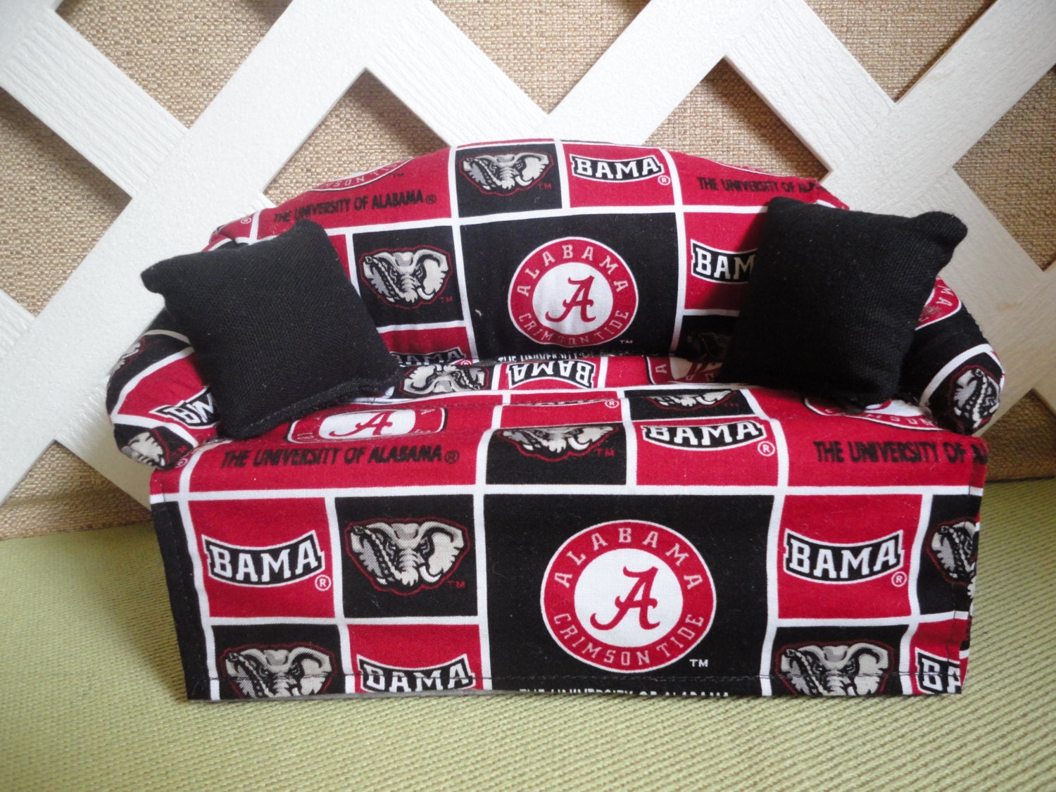 Alabama Crimson Tide Tissue Box Cover In Sofa Shape Red And