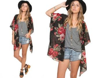 Frolic Kimono Cardigan - Rose Garden