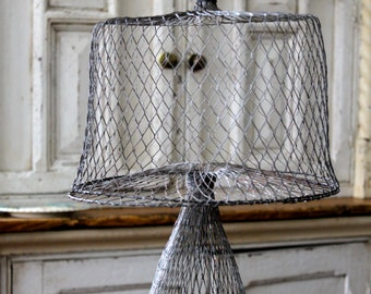 Vintage Mesh wire cake stand with dome