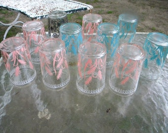 11 cool bright clean vintage 60s 70s RETRO mid CENTURY barware tumblers drinking SWANKY swig juice glasses