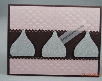Handcrafted Chocolate Kiss Love, Friendship, Valentine's Day Card