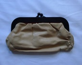 Vintage Nude Leather Clutch Bag | Purse | Womens