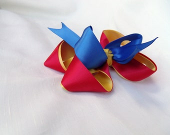 Back to School Satin Stacked Boutique Bow - Primary Colors Red, Yellow, Blue